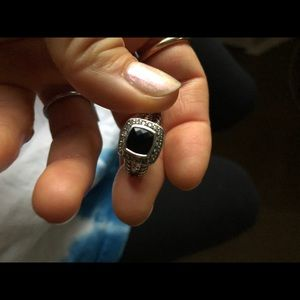 David Yurman Onyx and Pave sterling and 14k ring